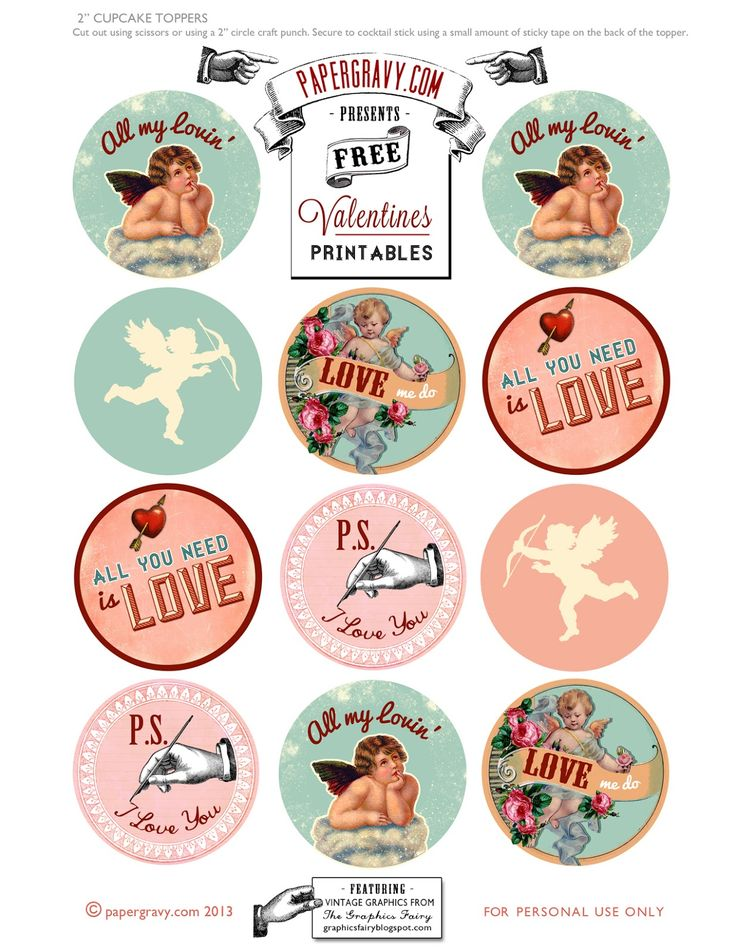 Valentines Printables Cupcake Toppers