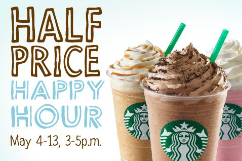 May 4-13th its Frappuccino Happy Hour at Starbucks. All blended Frappucino's are 1/2 priced!!
