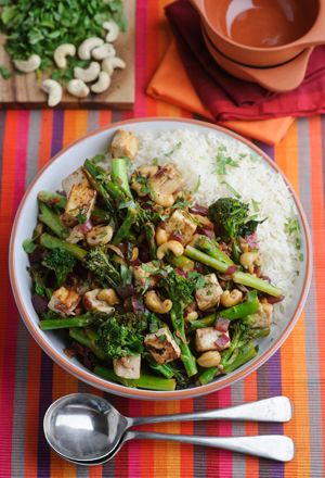 Levi Roots' Tenderstem Broccoli, cashew and tofu stir fry