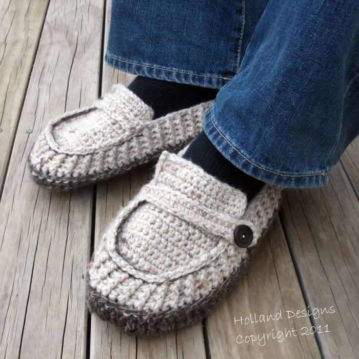 Crochet Patterns Slippers : CROCHET PATTERN Modern Mens Loafers / Slippers - Pattern PDF. $4.99 ...