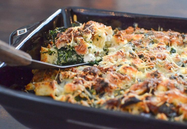 Savory bread pudding with spinach, chevre, smoked ham and roasted red ...