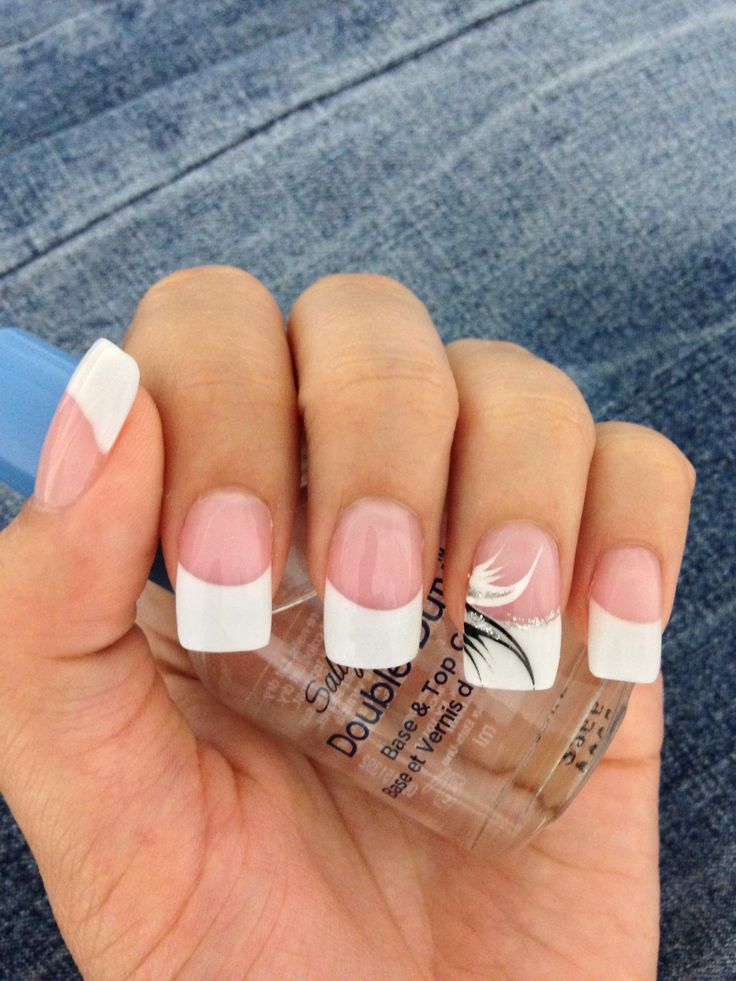 White French Tip Acrylic nails with black, white, & silver accent ...