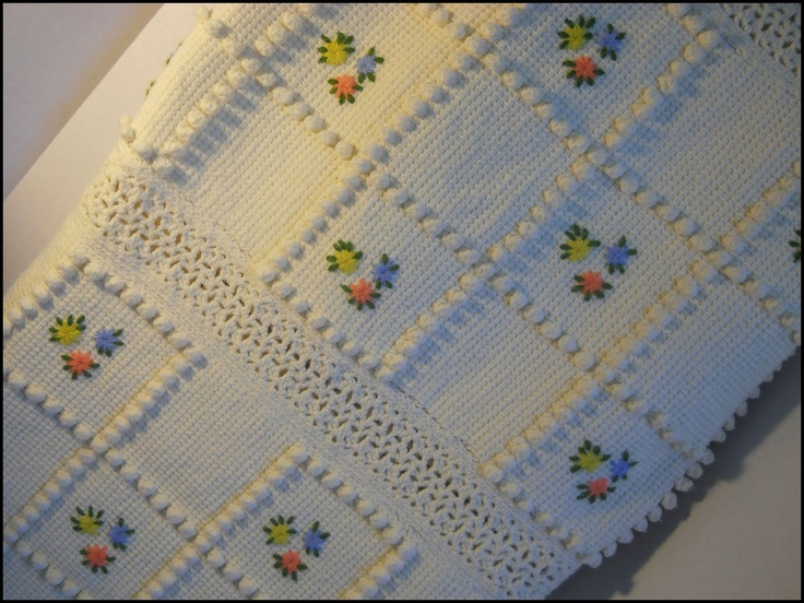 Vintage Beautiful Hand Crochet Throw Blanket Cottage Paris Chic. $45.00, via Etsy.