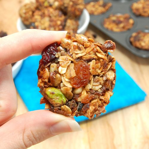 Fruit and Nut Granola Bites. These are so good and just one will keep ...