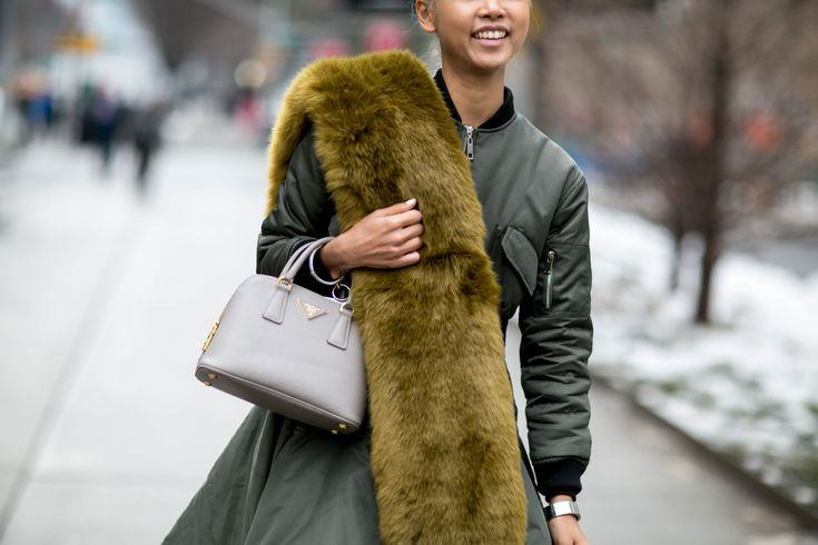 Fur Scarves Are Trending on the Streets of FashionWeek