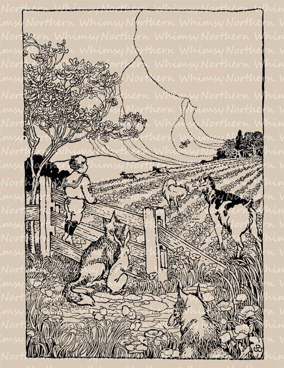 Vintage clip art image goats in the garden illustration from 1909