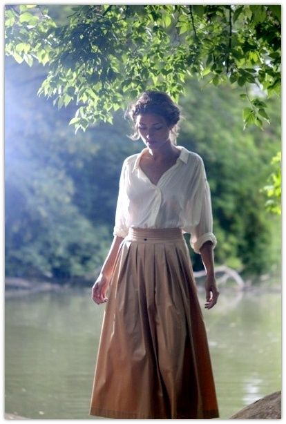 White blouse and long beige skirt