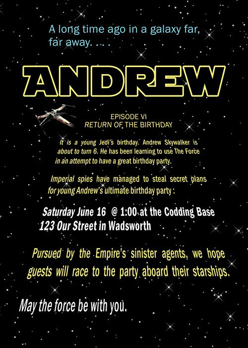 ... this for sis! Mat would loooove this. star wars birthday invitation