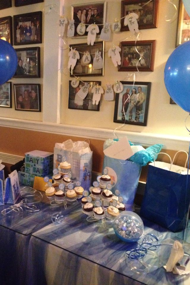 for boy baby shower cupcake table gift table restaurant baby shower