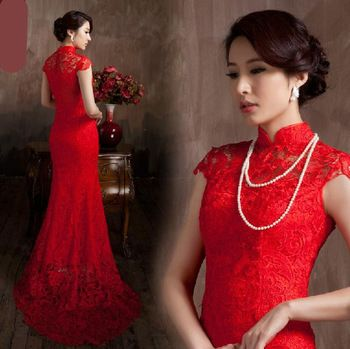 Red chinese traditional wedding dress water soluble lace dress long