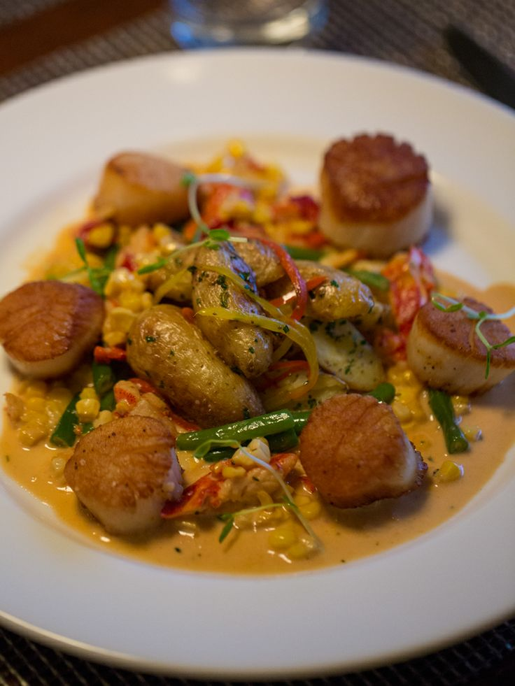 Pan Seared Sea Scallop entrée with lobster succotash & warm ...