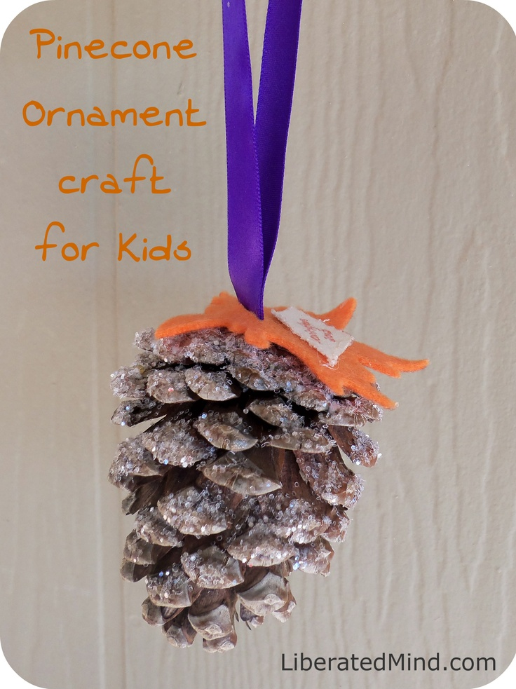 Kid Pine Cone Ornament Craft
