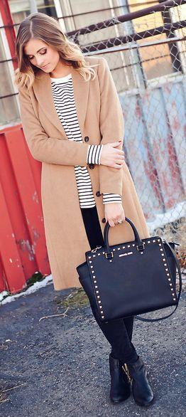 Camel Basic Coat and Stripes Long Sleeve and Booties