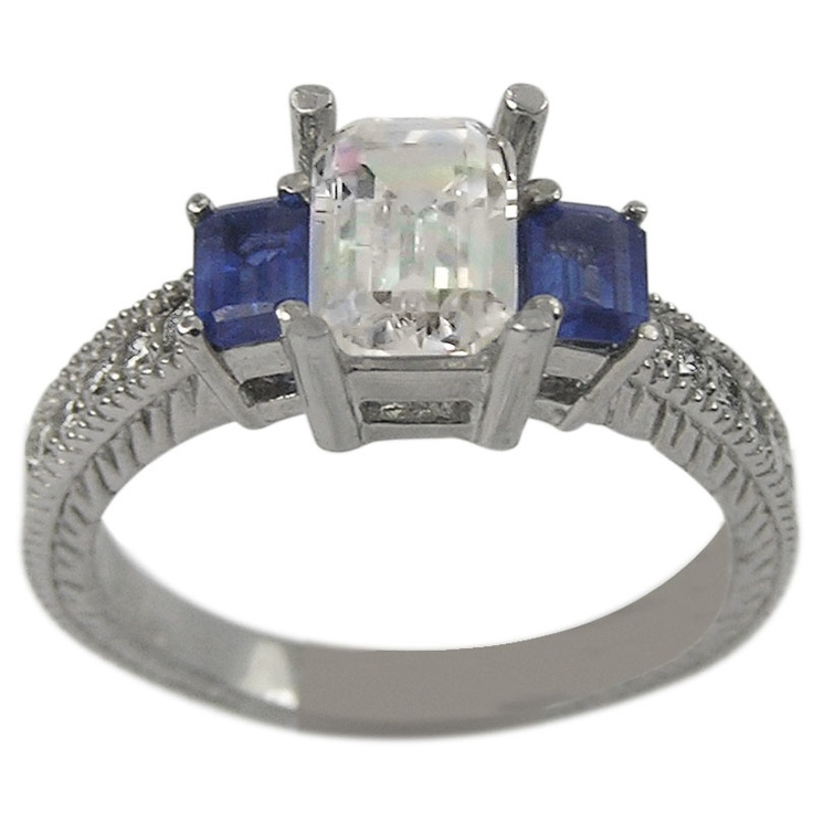 Vintage Sapphire Accented Emerald Cut Engagement Setting This particular ri