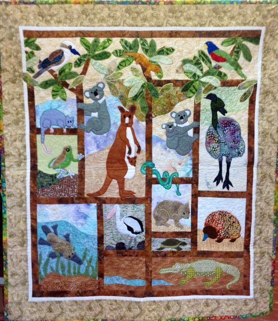Australian animals quilt Quilts: Cotton (Pieced, Appliqued, Etc.)