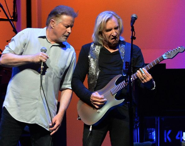 Don henley and joe walsh of the eagles perform during history of the