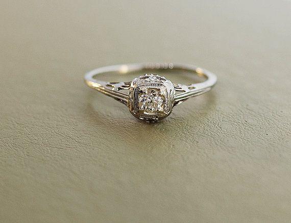 antique 1920 s 18k white gold filigree engagement ring