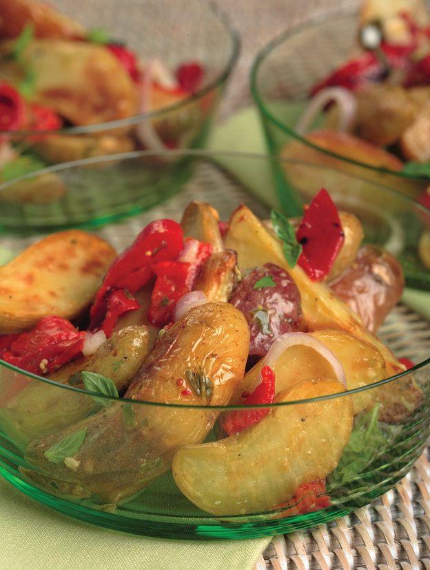 Roasted Fingerling Potato Salad With Lemon-Basil Vinaigrette. Made ...