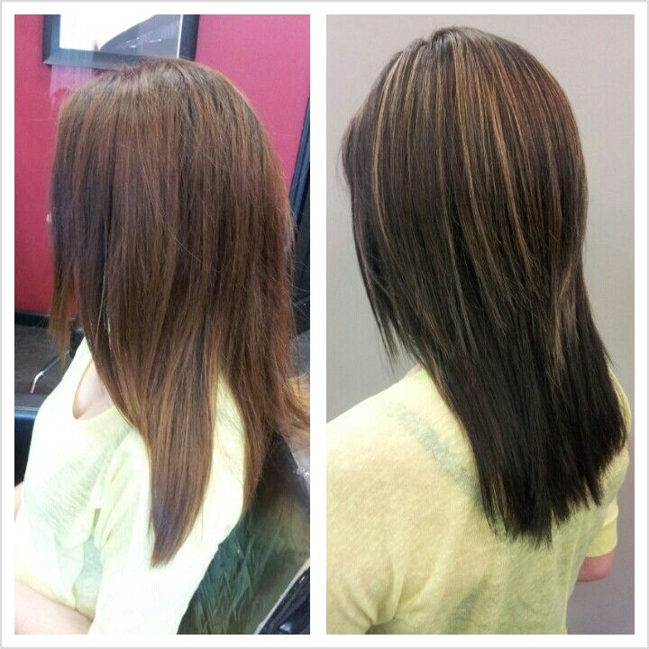 Brown Hair With Partial Highlights | Dark Brown Hairs