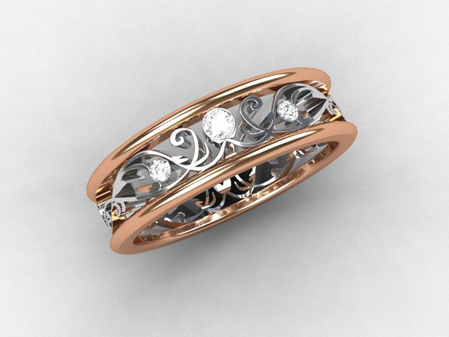 Rose Gold Ring Diamond Wedding Band White Gold Filigree Ring Lace