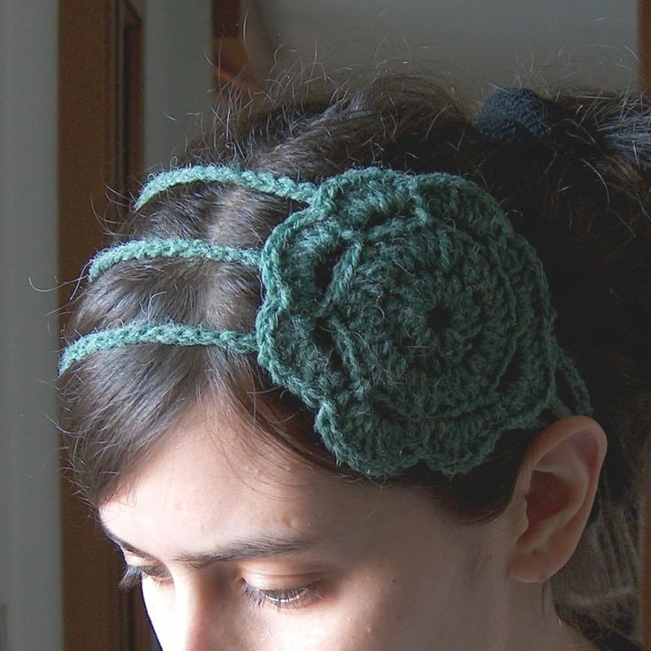 Crochet Flowers Patterns Headbands : Headband with Flower Free Pattern Crochet headbands ...