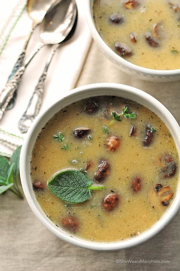 White Bean and Roasted Mushroom Soup via She Wears Many Hats