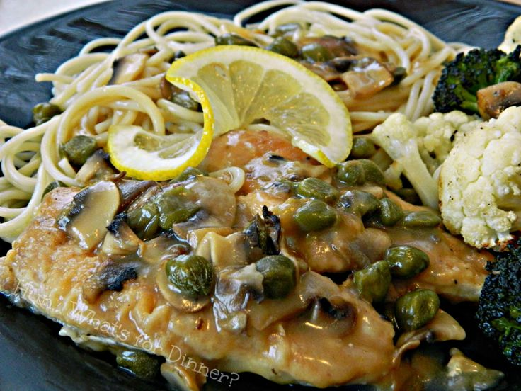 ... chicken cutlets is served with a luxurious lemon caper mushroom sauce