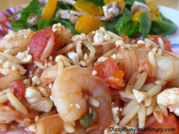 Greek Shrimp with Orzo - pasta and shrimp with a Mediterranean flair ...