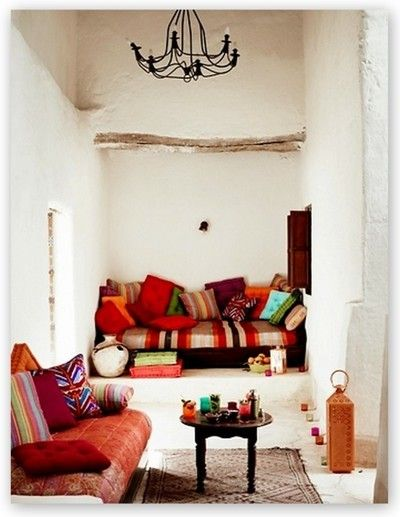 Bohemian living room with exotic fabrics