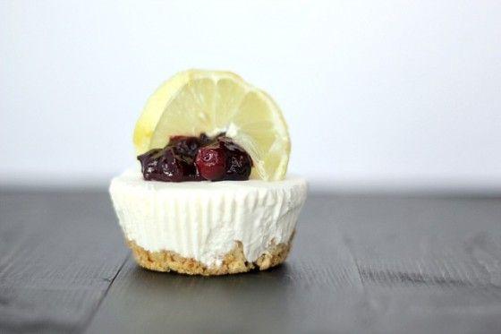 No-Bake Lemon Cheesecakes with Lemon-Blueberry Sauce Recipe