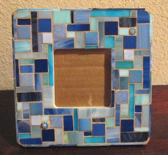 blue glass mosaic picture frame