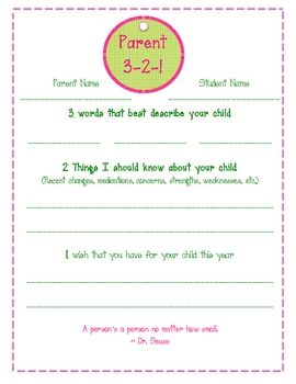 Parent Homework! :)