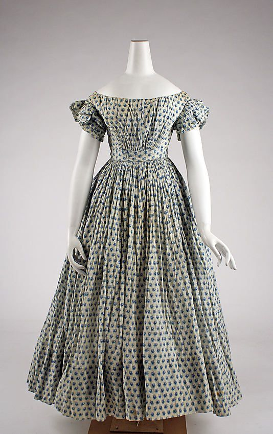 With that high of a waist this looks more line 1850's.   Dress 1835, American, Made of cotton