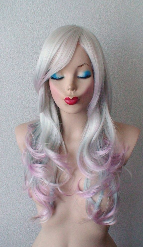 Hand Dye Color Hair Wig Silver  Pink Lavender Blue Hair Ombre Wig