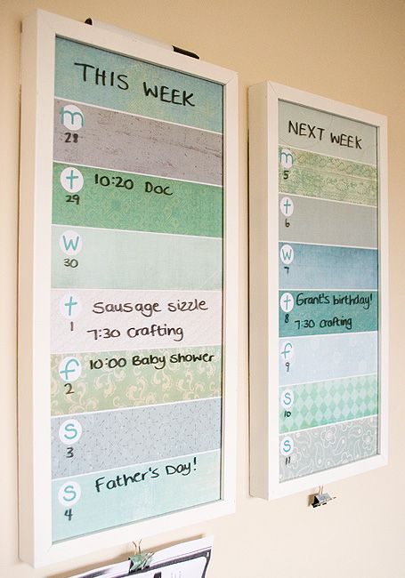 Under the glass of the frames, strips of scrapbooking paper with circle punches and letter stickers. Voila, a weekly planner showing this week and next week. I like this because I always need the next week too!