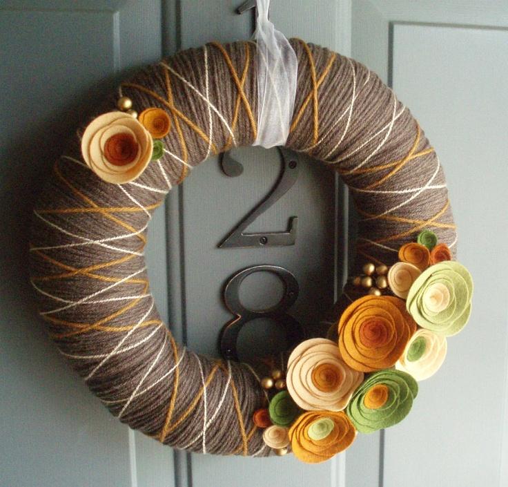 Yarn and felt #Fall #Wreath. via Etsy