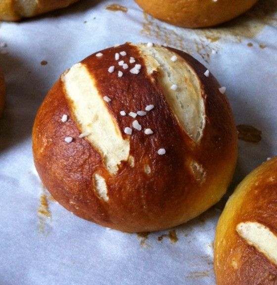 Salted Pretzel Buns...How good would these be with a nice cheesy ...