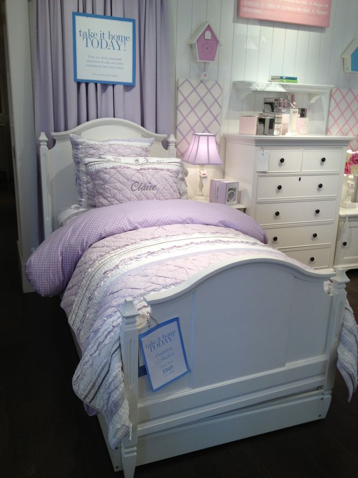 White pottery barn girls bed twin furniture pinterest for Girls white twin bed