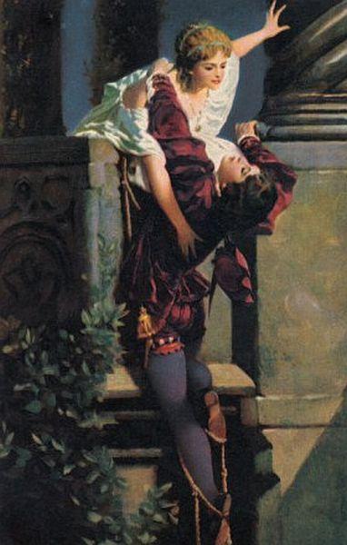 Romeo and Juliet, The Balcony Scene, oil by Hans Makart, Austrian, 1840-1884.