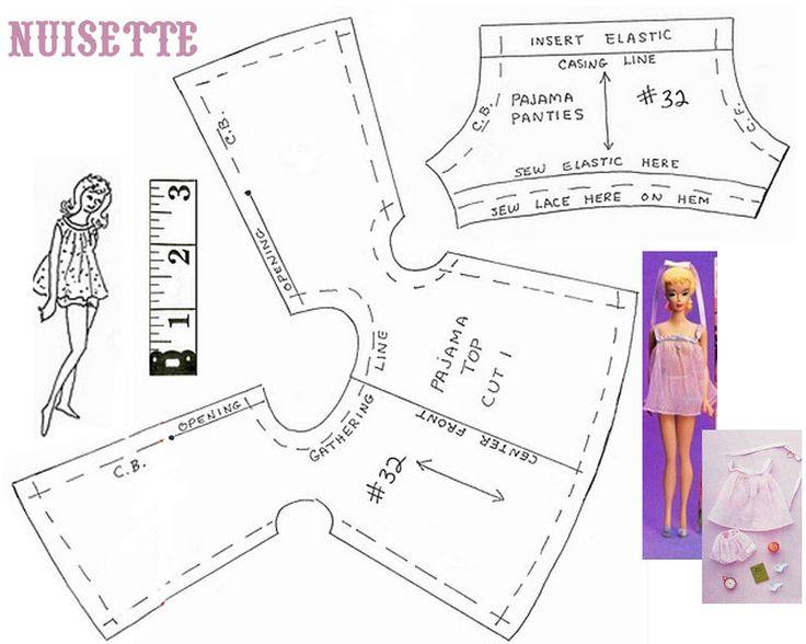 Одежда для куклы барби выкройка в натуральную величину