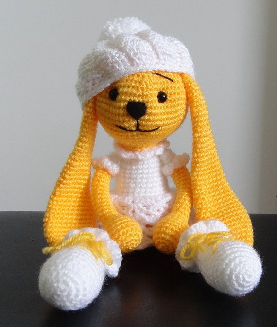 Crocheting Stuffed Animals : Rabbit large Stuffed Animals Soft Toy Crochet Handmade Amigurumi. Made ...
