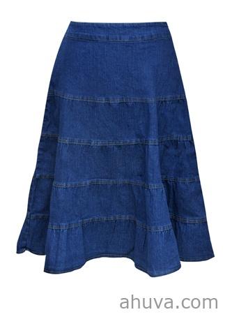 tiered denim calf length skirt modest clothes i