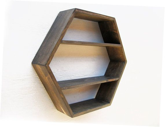 hexagon wall shelf deep dark brown etsy i like pinterest. Black Bedroom Furniture Sets. Home Design Ideas