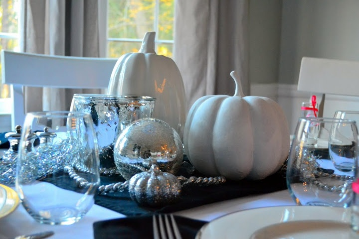 Sparkly white pumpkin centerpiece