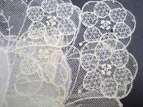 Vintage Tambour Lace Handkerchief French Net Lace by lasadana, $26.00