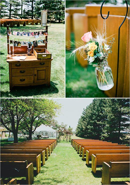 church pews used at backyard wedding