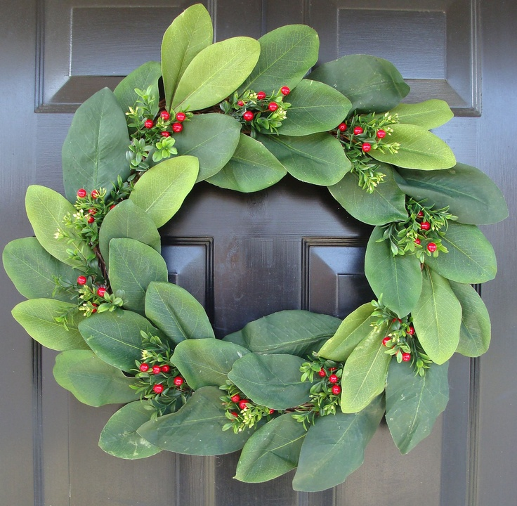 Magnolia Leaf Winter Wreath Home For The Holidays