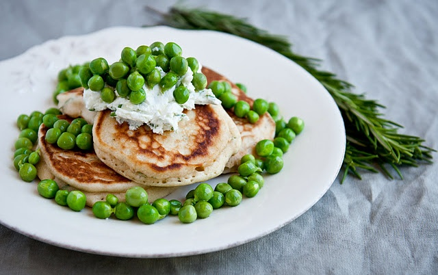 ... wheat rosemary pancakes with garlic-chive goat cheese and fresh peas
