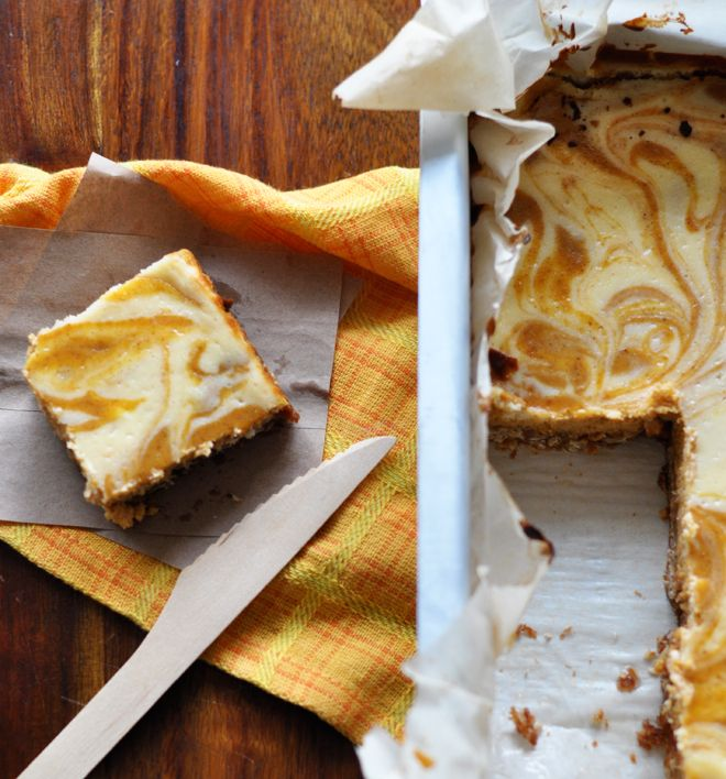Foodess's Pumpkin Swirl Cheesecake Squares: with an easy pecan oat ...