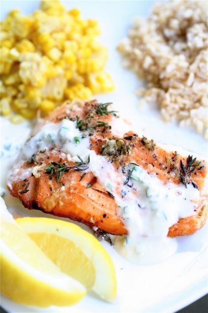 Cedar-Planked Salmon with chive horseradish sauce